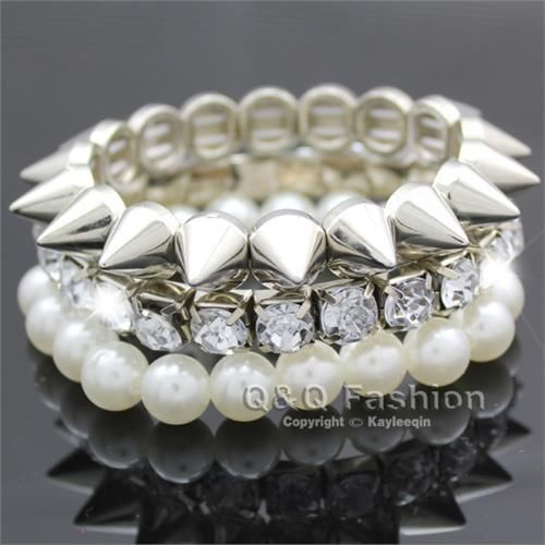 Bangles Jewelry & Accessories Pack Of 3 Silver Spike Crystal Pearl Stretch Bracelet Bangle Fancy Dress Punk Jewelry Dropshipping New