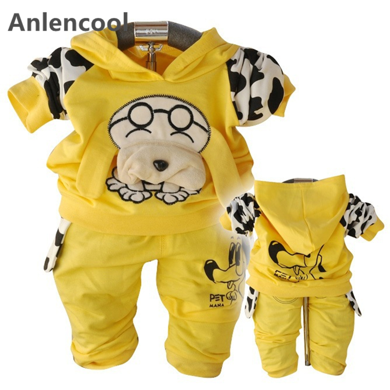 AnlencoolFree shipping newborn Korean children clothing spring puppy hooded suit boys baby clothing set spring boys clotes suit free shipping 2017 spring autumn children baby boys hooded sports suit letter 2pcs set kids