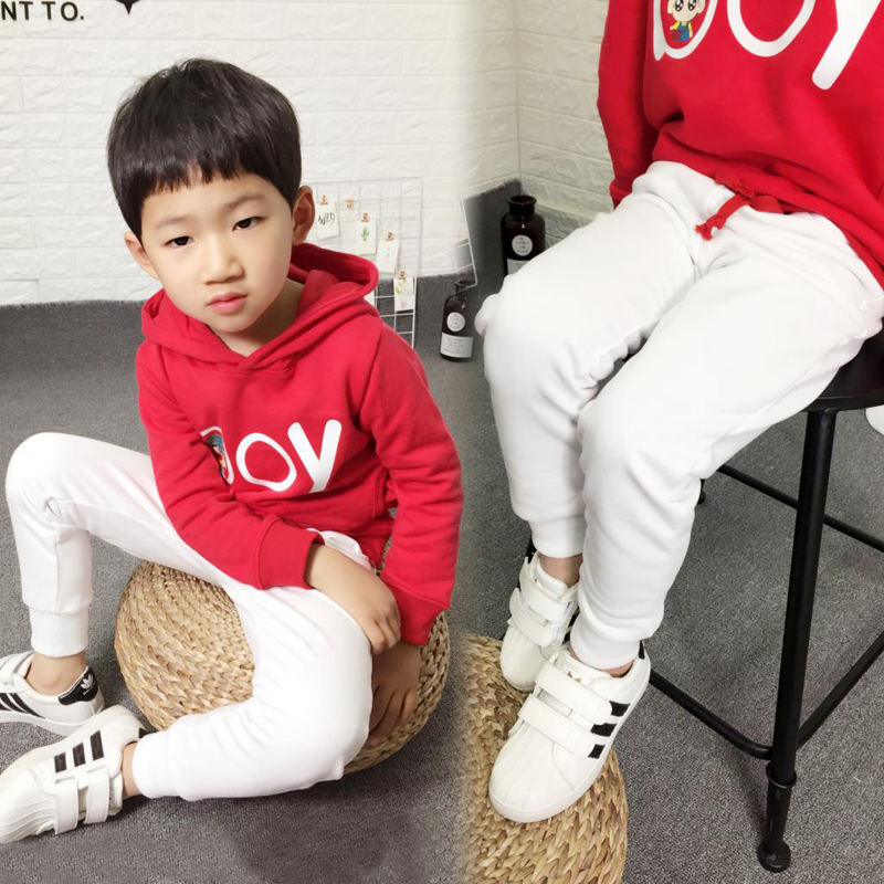 Image 3 - New 2019 Kids Boys Sport Pants Children Long Trousers Cotton Spring Sweatpants For teenage Casual Solid White&Black Sweatpants-in Pants from Mother & Kids