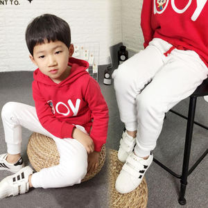 Image 3 - Pantalones deportivos para niños y adolescentes pantalones largos de algodón, pantalones de chándal de primavera, informales, Blanco sólido y negros, novedad de 2019