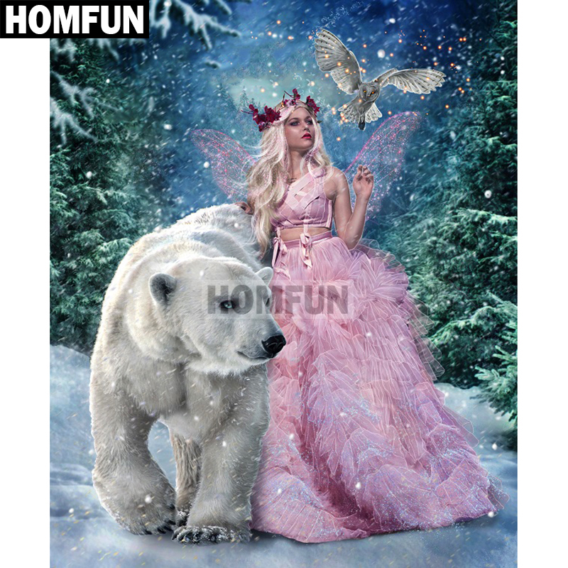 HOMFUN Full Square/Round Drill 5D DIY Diamond Painting Beauty & Bear Embroidery Cross Stitch Mosaic Home Decor Gift A01854