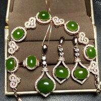 Super luxurious banquet set 925 silver set, ring necklace, earrings, bracelet, new shop promotion natural Jasper