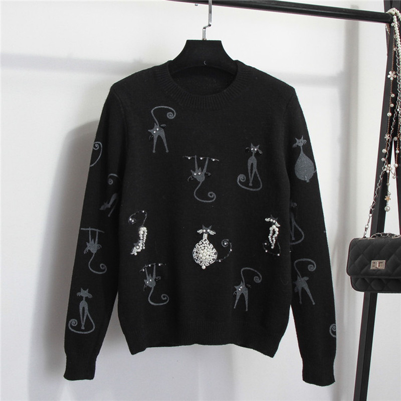 Sweater Cat Print Pearl Beaded Luxury Pullover 1