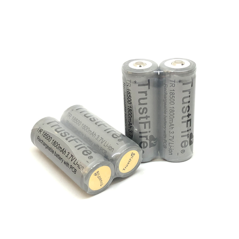 TrustFire TR 18500 3.7V 1800mAh Lithium Protected with PCB board 18500 Rechargeable Battery with Point Head For e-cigarette image