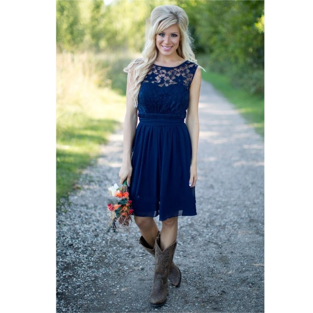 Western Country Wedding Navy Blue Lace Top Chiffon Short A Line Bridesmaid Dress Party Dresses Vestido