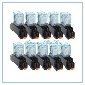 Image 1 - 10 יחידות MY2P MY2NJ HH52P 12 V 24 V DC/110 V 220 V AC סליל DPDT מטרת מיקרו מיני כללי ממסר עם שקע בסיס