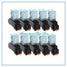 10 stks MY2P HH52P MY2NJ 12 V 24 V DC/110 V 220 V AC spoel algemene doel DPDT micro mini relais met socket base