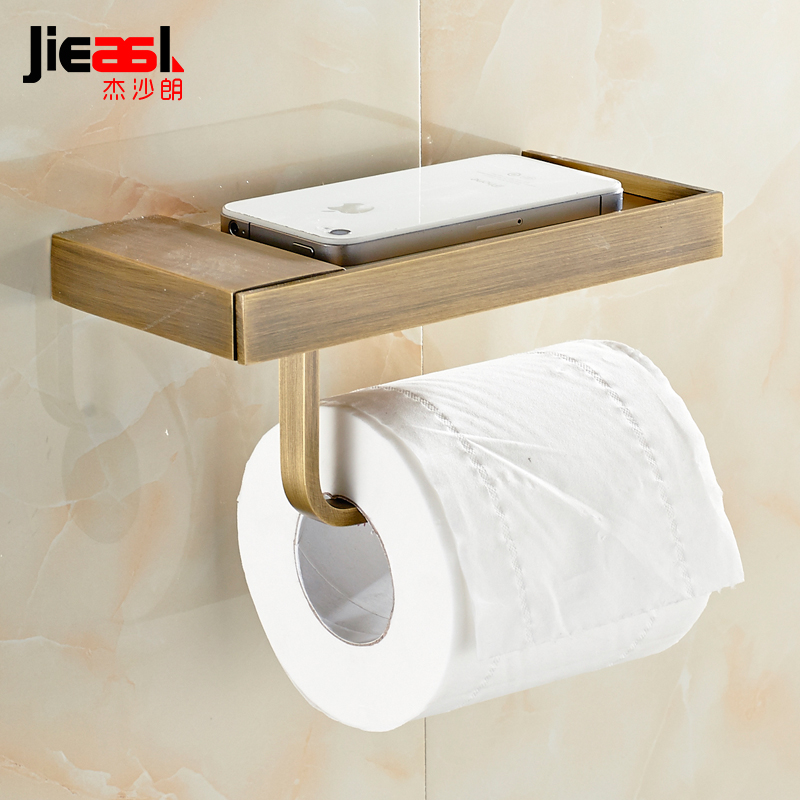 All Copper Paper Holder Roll Tissue Holder Hotel Works Toilet  Box Surface Antique Drawing Treatment Put the Phone