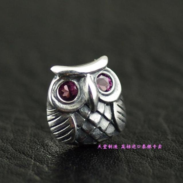 925 Silver pink eye owls Thai silver earrings 1 Pair