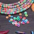 1 строка 1 мм * 8 мм разноцветные Резиновые spacer Fit Чешские ювелирные изделия ожерелье/браслет около 45 см Фимо Spacer