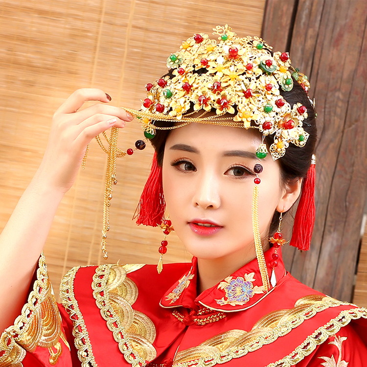 Ying Qin Traditional Chinese Wedding Bride Hair Tiaras for Xiuhefu Hair Accessory Set for Costume 00009 red gold bride wedding hair tiaras ancient chinese empress hair piece