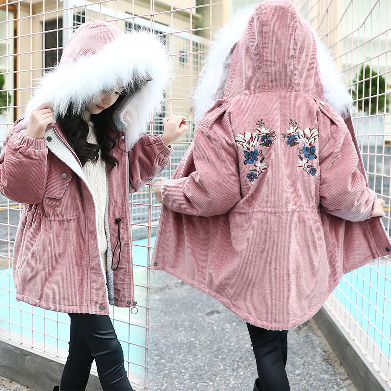 Winter Children Girls Zipper Thick Jacket Kids Plus Velvet Lambswool Coat Overcoat Girls Big Faux Fur Collar Hooded OutwearWinter Children Girls Zipper Thick Jacket Kids Plus Velvet Lambswool Coat Overcoat Girls Big Faux Fur Collar Hooded Outwear