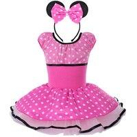 Kid Girls Mickey Minnie Mouse Polka Dots Short Sleeve Ballet Dress Leotards GymnasticTutu Dress Cosplay Costume