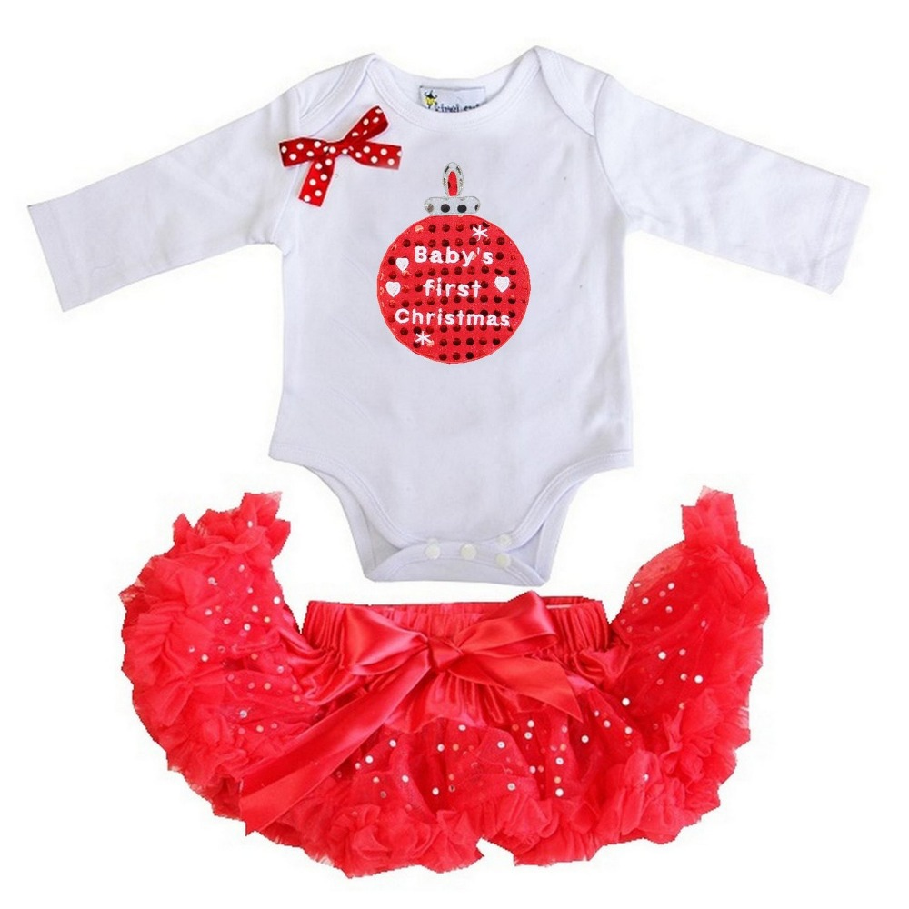 Baby Girl Clothes Red Glitter Pettiskirt Tutu Xmas Tree , Jingle ...