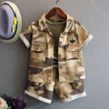 2016 new summer baby Girls Kid Camouflage Pop coat+ T-shirt+ Shorts Children cotton tops tees Clothing  2-7 years 20W