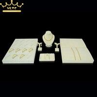 Beige Velvet Jewelry Display Shelf Set Showcase For Bracelet Chain Pendant Necklace Jewellery Stand Holder Rack 100*50*20cm