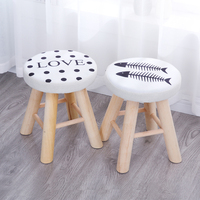 Cloth Stools Fashion Household Living Room Round Benches Wooden Small Sofa  Chairs Bench Minimalist Modern Nordic