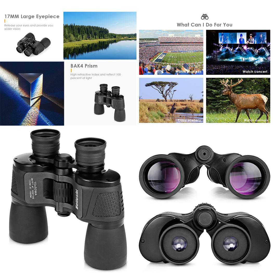 Binoculars 10x50 HD Vision Wide-angle Prism Foldable 10X 2.1 Outdoor for living water-resistant Travel Concert(China)