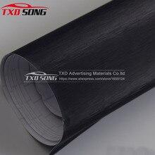 Premium kwaliteit Zwart Metallic Geborsteld Aluminium Vinyl auto Wrap Film auto sticker folie decoratie door gratis verzending