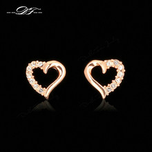 Hollow Love Heart Cubic Zirconia Rose Gold Color Stud Earrings CZ Stone Fashion Jewelry For Women Earring Wholesale DFE327