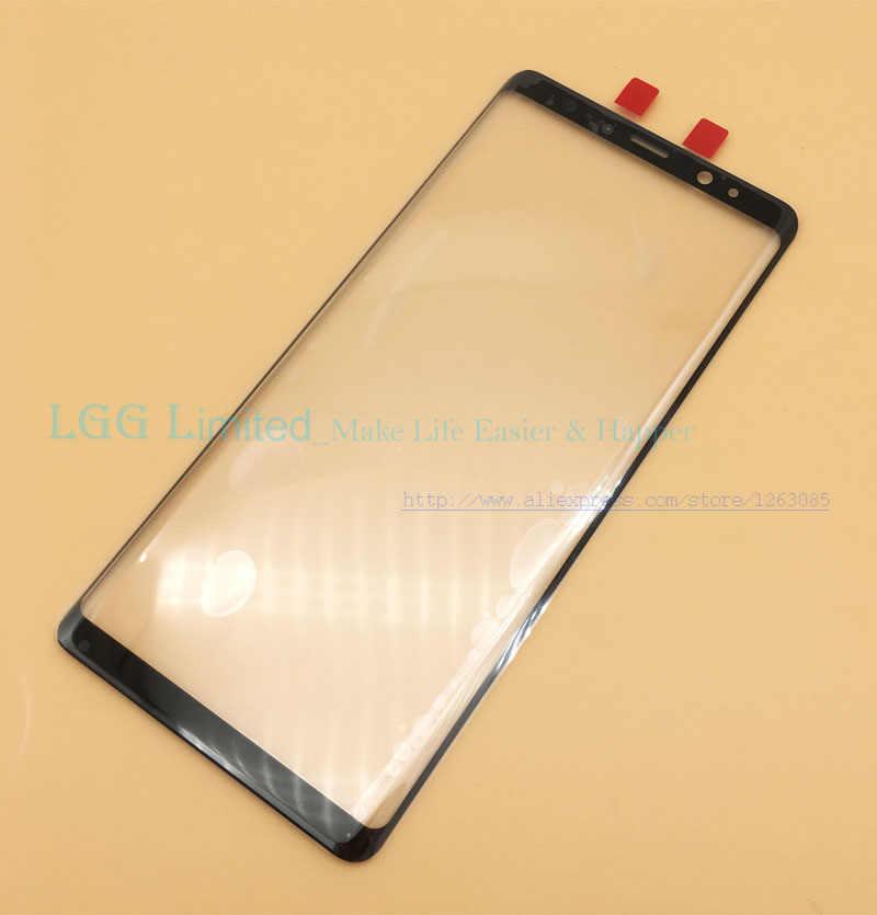 استبدال أجزاء LCD لوحة شاشة لمس لسامسونج غالاكسي Note8 ملاحظة 8 N950F N950 الخارجي الجبهة غطاء لعدسات النظارة