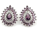 Fashion Jewelry Amethyst SheCrown Wedding Woman's Created  Silver Stud Earrings 25x21mm