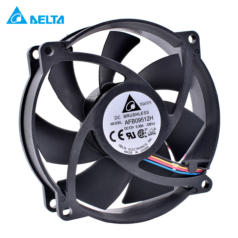 DELTA AFB09512H 9225 8025 92mm fan 9cm 12V 0.30A Double ball bearing 4pin computer CPU cooler replacement cooling fan original delta afb0912shf 9032 9cm 12v 0 90a dual ball bearing cooling fan page 1