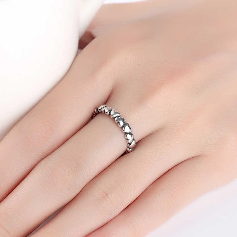 Bohemian Punk Real 925 Sterling Silver Love Heart โบราณแหวนผู้หญิงเครื่องประดับขนาดใหญ่แหวนหมั้นแหวนของขวัญ