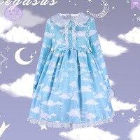 Floating Clouds ~ Long Sleeve Mori Girl Dress Peter Pan Collar Printed Lolita Dress