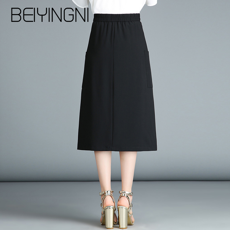 largest selection of wholesale sales buy popular US $17.45 36% OFF|Beiyingni Plus Size Office Lady Skirts Solid Color Korean  Casual A line Skirt Women Work Wear Pocket Elegant Midi Skirts Vintage-in  ...