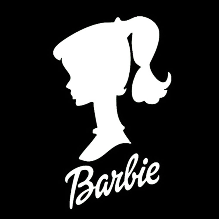159 5cm barbie doll head personalized car stickers and decals cartoon car accessories black silver c1 0060 in car stickers from automobiles motorcycles