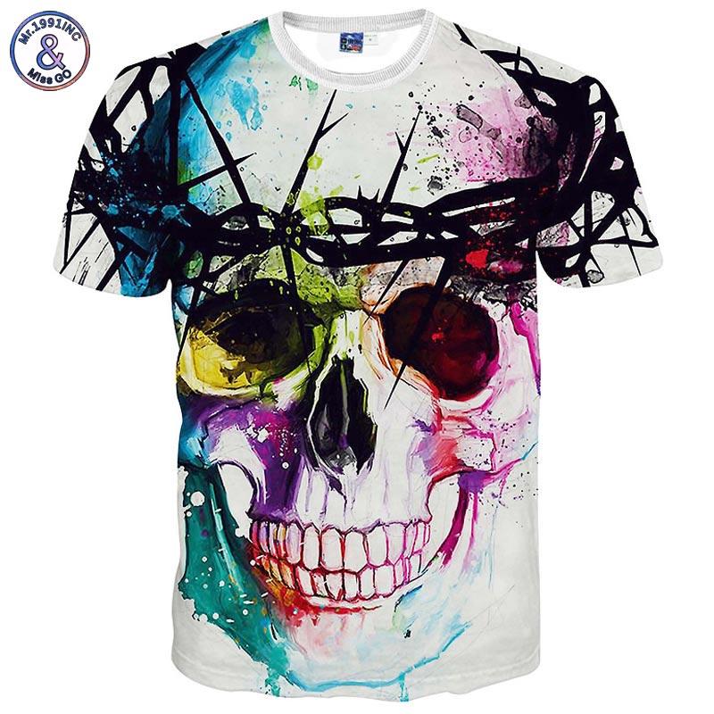 Mr.1991INC New Fashion Brand T-shirt Hip Hop 3d Print Skulls Harajuku Animation 3d T shirt Summer Cool Tees Tops Brand Clothing
