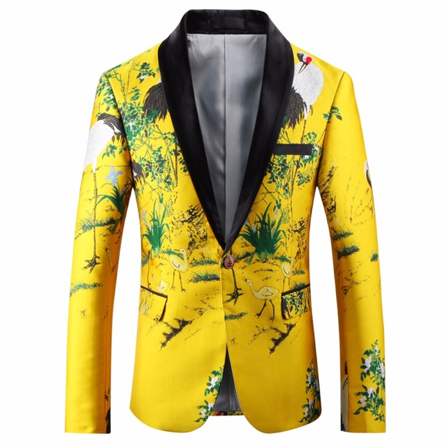 85f960b2c633a Loldeal Black Yellow Blazer Men 2018 Slim Fit Floral Embroidery Blazer  Jacket Shawl Collar Casual Suit