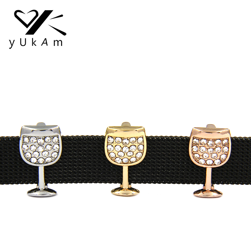 YUKAM Jewelry Rhinestone Wine Glass Wine Goblet Slide Charms Keeper for Leather Wrap Mesh Keeper Bracelet DIY Accessories Making