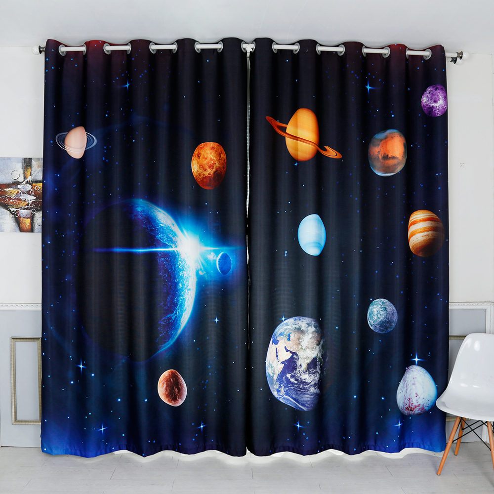 Thickened Velvet Cotton Bedroom Decor Curtains Cartoon Blue 3d Space Milky Way Planet Pattern Blackout Curtains