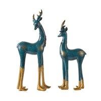 Олень любовь пары животных Статуи украшения творческий, современный, простой красочный свадебный подарок украшения дома аксессуары