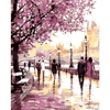 Romantic DIY Oil Painting By Numbers Cherry Blossoms Road Kits Wall Art Picture Home Decor Acrylic