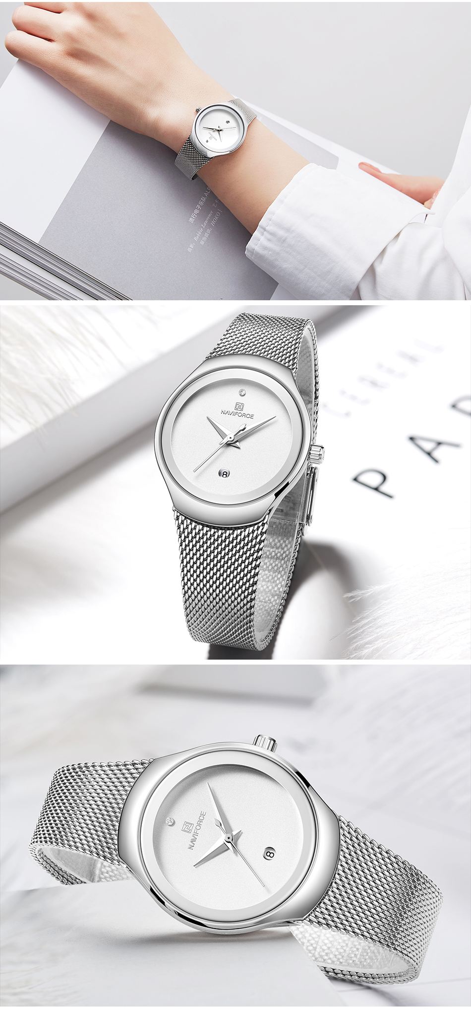 NAVIFORCE Top Luxury Brand Women Watches Female Fashion Simple Quartz Watch Ladies Classic Stainless Steel Mesh Belt Wrist Watch 11