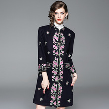 Luxury and noble 2019 spring and autumn and winter new fashion embroidery Slim temperament long wool women's woolen coat women цены