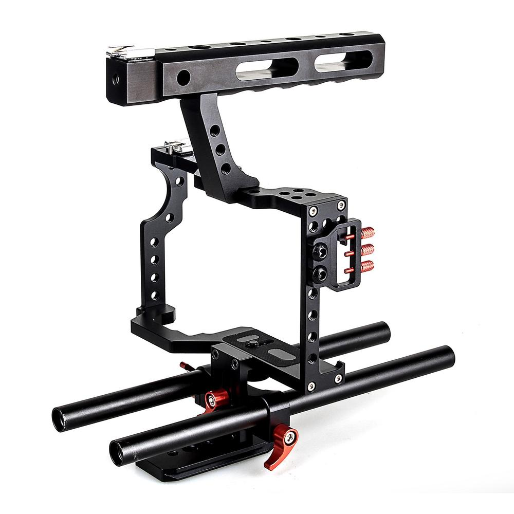 DSLR Rod Rig Camera Video Cage Kit & Handle Grip Video Stabilizer Shoulder Mount Rig For Sony A7 A7r A7s II A6300 GH4 f14123 commlite cs v1aluminum alloy handgrip holder dslr shoulder mount rig camera stabilizer dslr rig easy for shooting camera