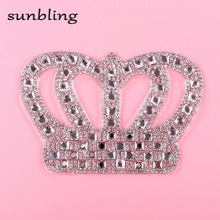 wholesale new fashion crown patches DMC quality best rhinestone hotfix style large size crown iron on cloth luxury patch