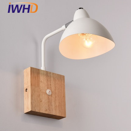 IWHD Iron Modern LED Wall Lamp With Switch Arm Sconce Wall Lights For Home Lighting Fixtures Angle Adjustable Wood Wandlamp modern lamp trophy wall lamp wall lamp bed lighting bedside wall lamp
