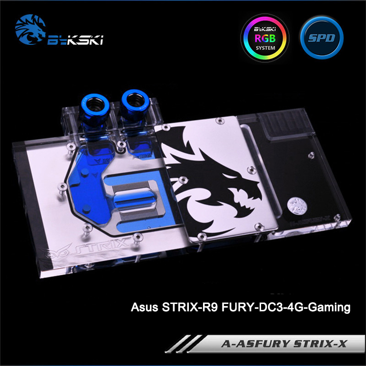 Bykski A-ASFURY STRIX-X Full Cover Graphics Card Water Cooling Block RGB/RBW/ARUA for Asus STRIX-R9 FURY-DC3-4G-Gaming bykski a xf37bwpk x full cover graphics card water cooling block for xfx r9 370 370x 380 380x