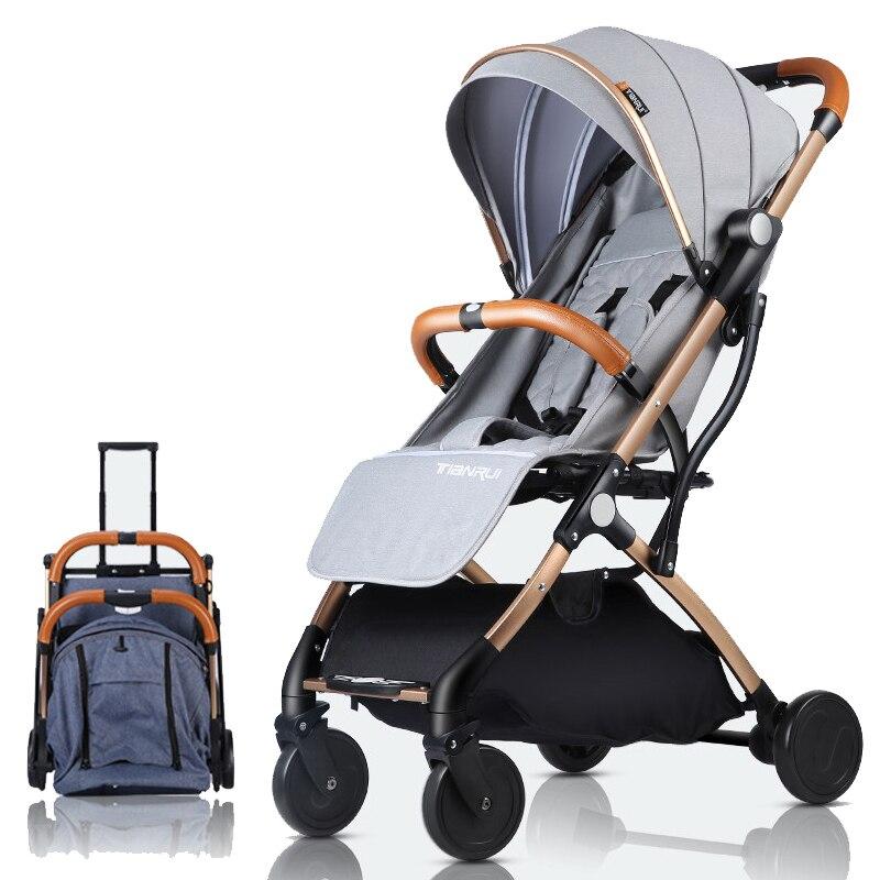Cochecito de bebé plegable ligero de TIANRUI 2 en 1 de aleación de aluminio puede estar en el avión cochecito de bebé para niños