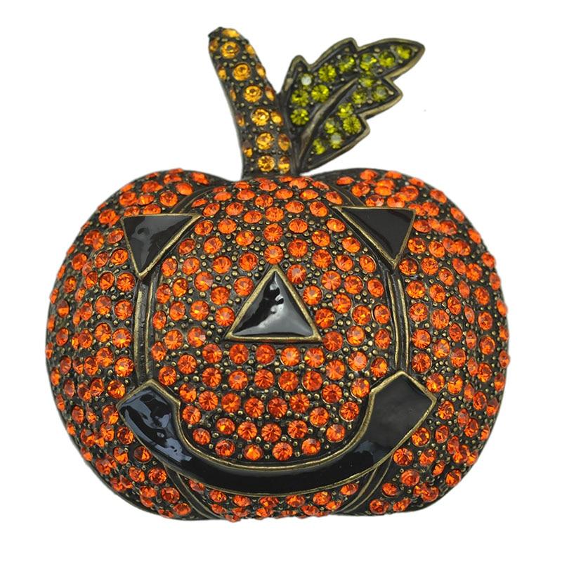 Halloween Pumpkin Brooch Pin Crystal Rhinestone Festival  Accessory Unisex Garment Fashion Jewelry