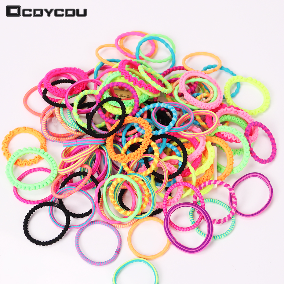60PCS Hair Accessories Colorful Child Kids Hair Holders Elastic Hair Bands Cute Rubber Headband Girl Women Tie Gum lnrrabc women imitation pearls butterfly hair rope charm crystal rubber headband ponytail gum elastic hair bands headband gift