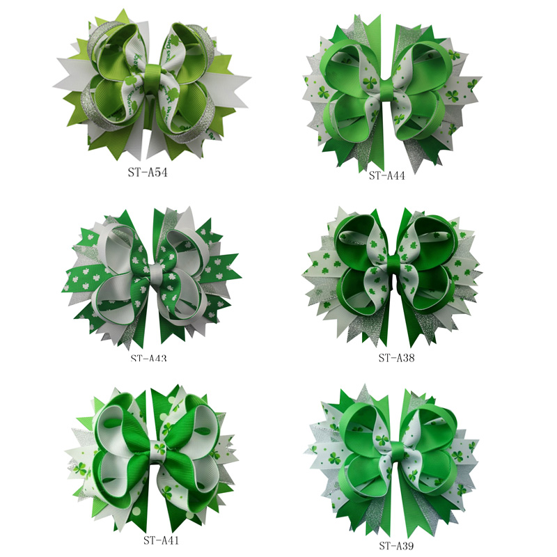 Adogirl New 6PCS/Lot 5 Inches 2018 Fashion St. Patrick Day Girls Four Leaf Clovers Barrettes Hairbows Children Hair Accessaries