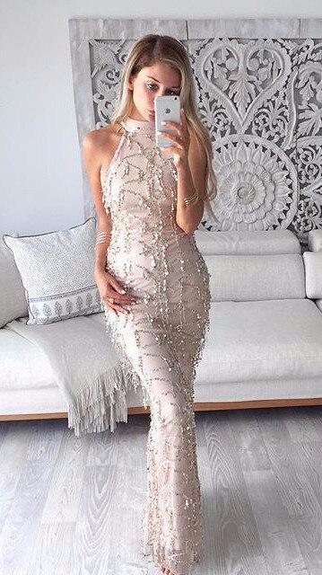 Gold Sequin Tassel Maxi Mermaid Dress