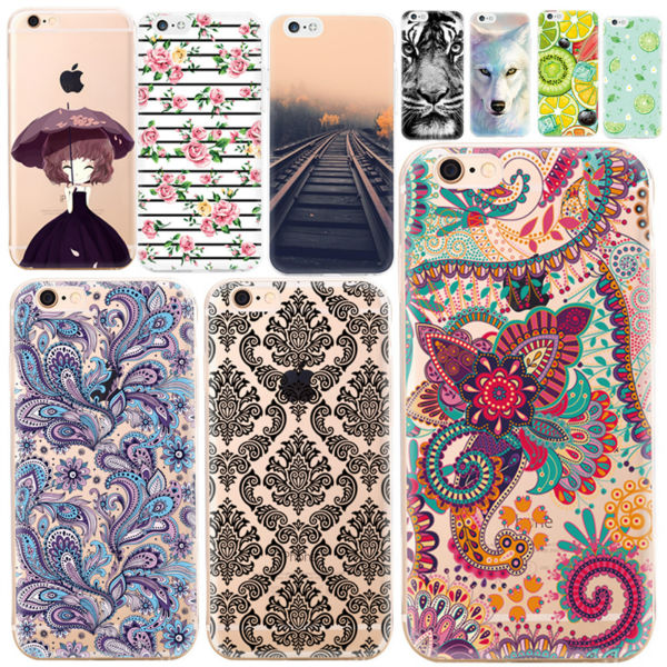 Patterned Phone Case for iPhone 7 6 6S Plus 5 5S SE 5C 4 4S For Samsung Galaxy A3 A5 A7 2016 J5 J3 J7 2016 J1 Mini TPU Cover Bag