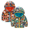 Kid Baby Boys Toddler Cartoon Hoodies Both Sides Zipper Down Warm Jacket Padded Coat Outwears Snowsuits